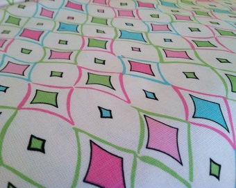 Colorful Cotton Fabric Geometric Pink Blue Green White