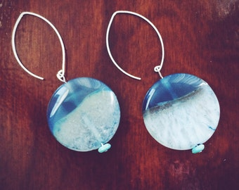 Blue Agate Circle Earrings