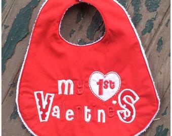 Baby's First Handmade Bib - My 1st Valentine's