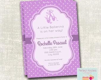 purple ballerina baby shower invitation