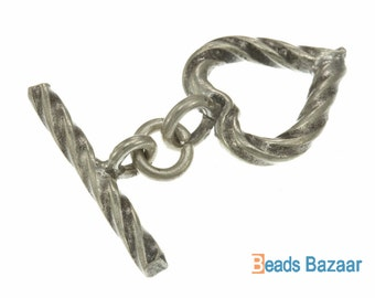 Karen Hill Tribe silver Twisted Heart Toggle, 24mm