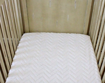 Solid White Embossed Chevron Minky Crib Sheet, Baby, Toddler, Crib Bedding