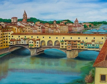 "Ponte Vecchio in Florence, 12 x 16"" Fine Art Reproduction Museum-Quality Print (Giclee) of Original Painting"