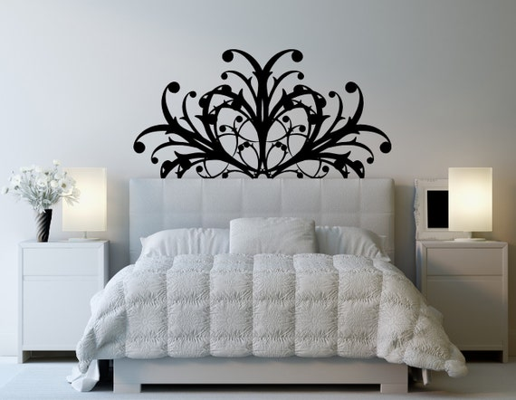Intricate Pretty Headboard Bed Twin Full By Vinylwalllettering