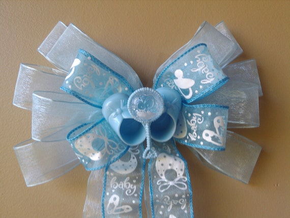 Baby shower bow baby blue bow baby gift bow birth for Baby shower front door decoration ideas