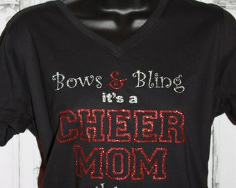 Women's Bows and Bling It's a Cheer Mom Thing Glitter Shirt