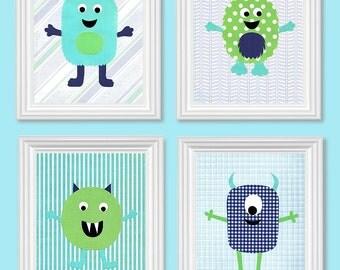 Monster Nursery Art, Boy's Room Decor, Turquoise Green Navy Teal, Children's Room Decor, Nursery Art Prints, Monster Canvas Art, Silly, Cute