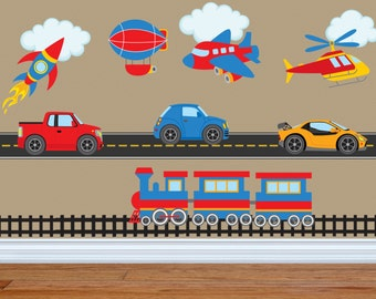 Truck Decal - Construction Wall Decal - Train Wall Decal - Plane Wall Decal - Boy Wall Decal - Nursery Wall Decal - Wall Decals-Car Decal