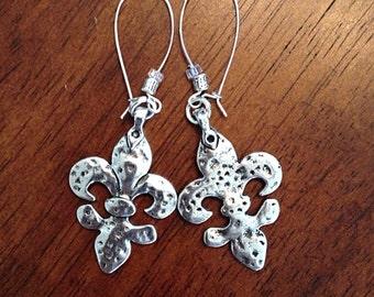 Earrings, Fleur De Lis Earrings, New Orleans Saints Earrings, Renaissance Earrings, Hammered Metaled Earrings, Western Earrings, Dangle