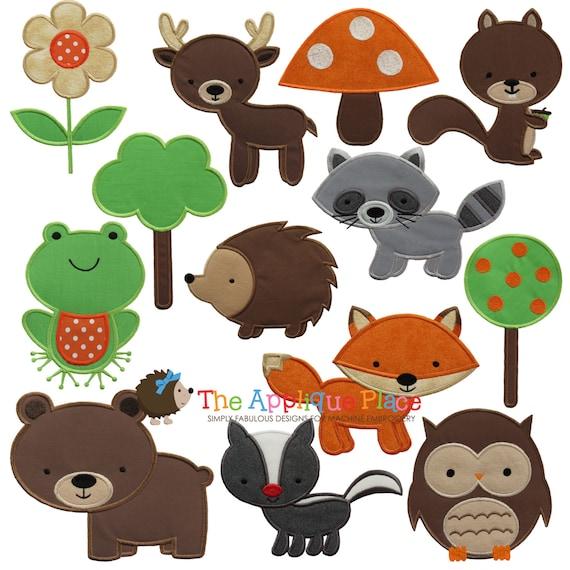 Woodland Animal Applique Designs Instant Digital Download