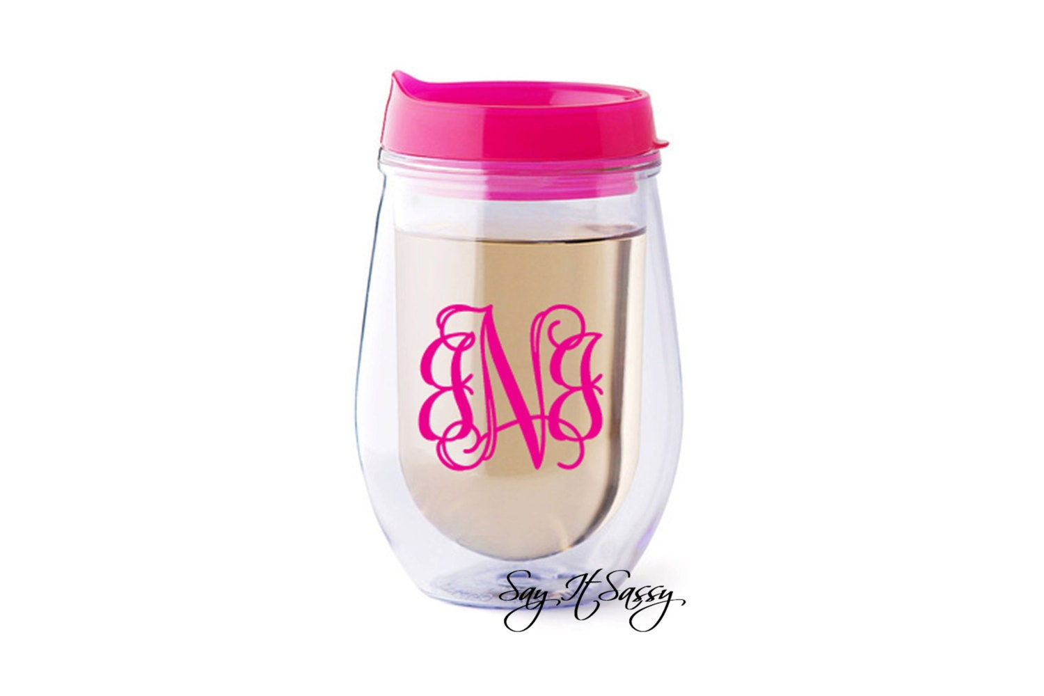 Personalized Beverage To Go Cup Wine Cup By Sayitsassy On Etsy
