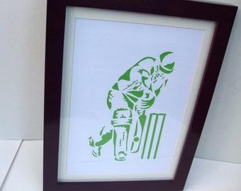 Paper Cut Art - Cricket Picture, Cricketer, Sport Art, Artwork - Silhouette - Art For Men - Father's Day - Christmas Birthday Gift for a Man