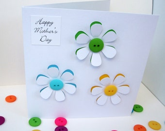 Mother's Day Card - Button Flowers - Paper Cut Card, Handmade Greeting Card for Mum - Mom