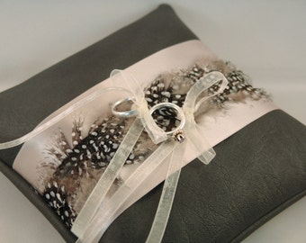 Wedding Pillow Grey with Feathers