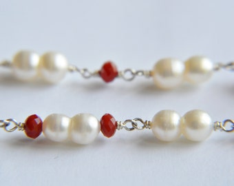Pearl Necklace with White Peanut Pearls and Red Crystals
