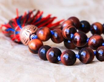 Gemstone Mala Prayer Beads, Buddhist Jewelry, Japa Mala, Yoga Necklace, Red Tiger Eye For Motivation & Goal Accomplishment