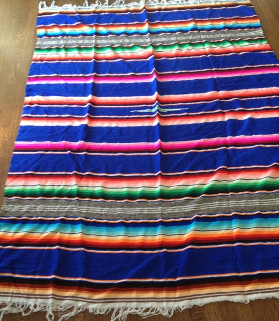 Vintage Mexican Blanket Rug Tablecloth Multi Colored Stripes