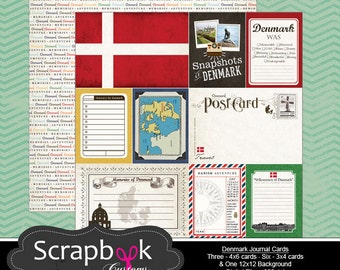 Denmark Journal Cards. Digital Scrapbooking. Project Life. Instant Download.