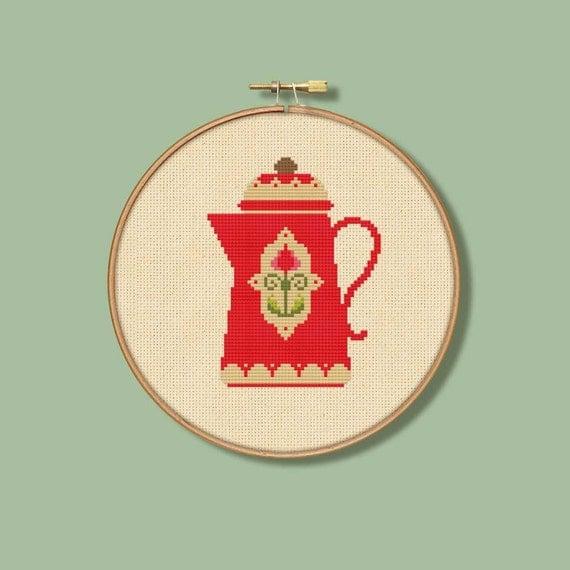 Vintage Red Coffee Pot Cross Stitch Pattern Cream (Digital Format - PDF)