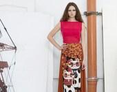 TULLE MAXISKIRT Manekineko lucky cat sheer rust hot pink-black tight mini dress japan street fashion