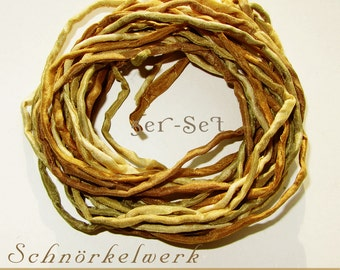 """5 Silk Ribbons """"Beige"""" 1 meter, rolled and sewn, hand colored, 05 Ponge Silk"""