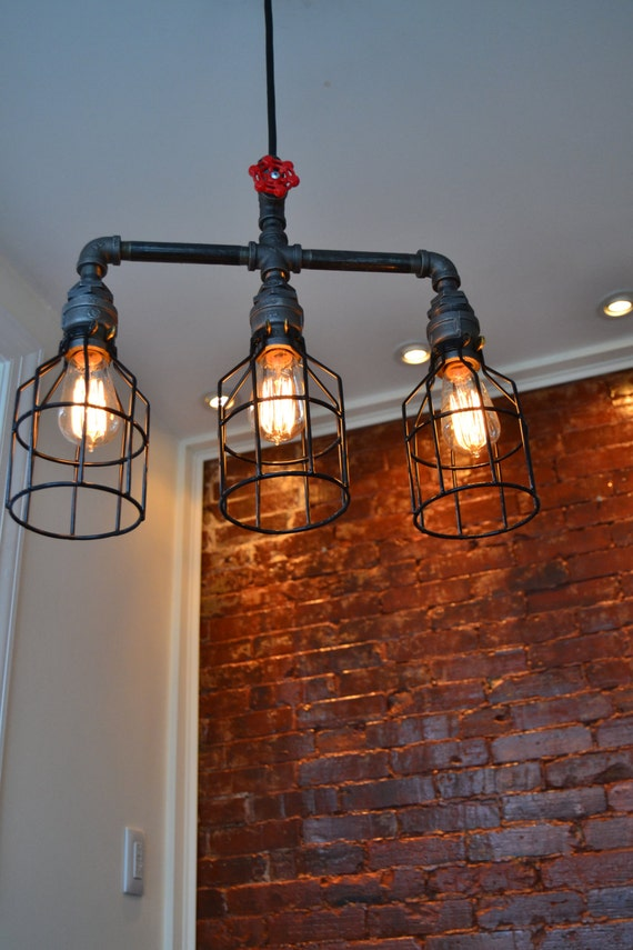 Hanging Triple Industrial Pipe Light Edison By WestNinthVintage