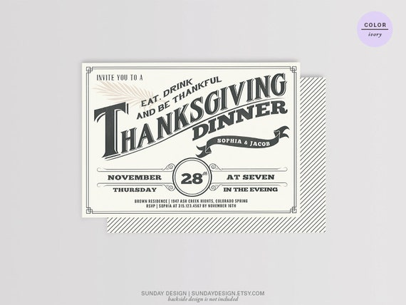 Chalkboard Thanksgiving Invitation