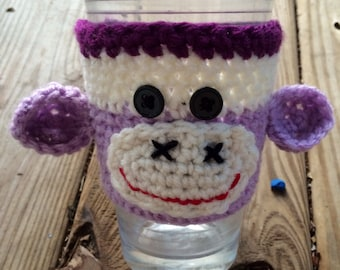 Crochet Sock monkey cozy, coffee cup cozy, cozy, Cup Cozy