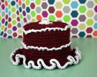 Toilet roll crochet Beanie Red