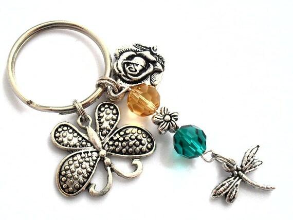 Garden Keychain Butterfly Charm Beaded Key Chain with Honey