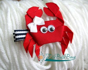Crab Ribbon Sculpture Hair Clip, under the sea hair bow, ocean-themed party favor