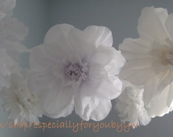 Set of 5 Tissue Paper Pom Pom/ Flower (Snow White) -  Perfect Decorations for  Wedding & Bridal Showers