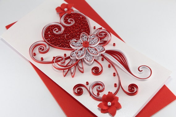 Quilled Valentines Day Card for Her Girlfriend Darling – Valentines Card for Girlfriend
