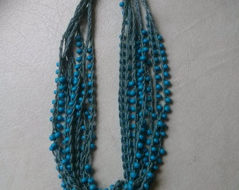 Vintage Collection - Handmade Blue Crocheted Beads Necklace