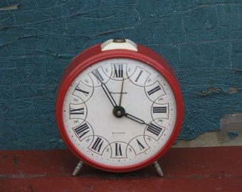 Vintage  Alarm Mechanical Clock Jantar - White and Red - Made in USSR