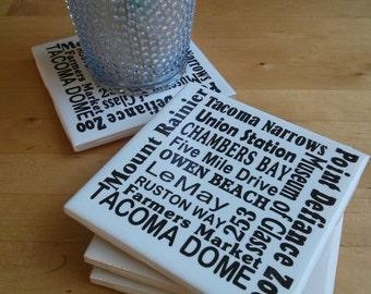 "Tacoma, WA themed Ceramic Tile Coasters with cork backing.  Set of four  4.25"" square ceramic tiles with custom cut black vinyl"