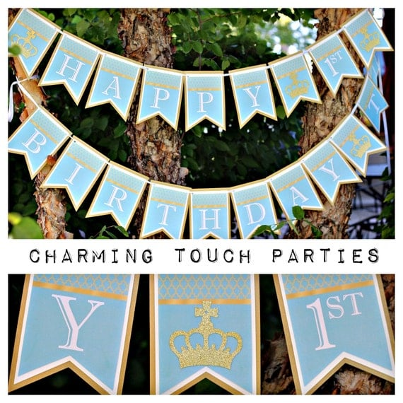 Little Prince Birthday Party Decor. Happy Birthday Banner