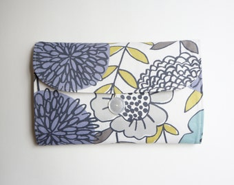 Grab 'N Go Diaper Changing Clutch -- Modern Floral -- Travel Changing Pad, Mat, Kit, Diaper Changer