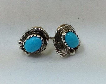 Sterling silver Hand made turquoise earrings