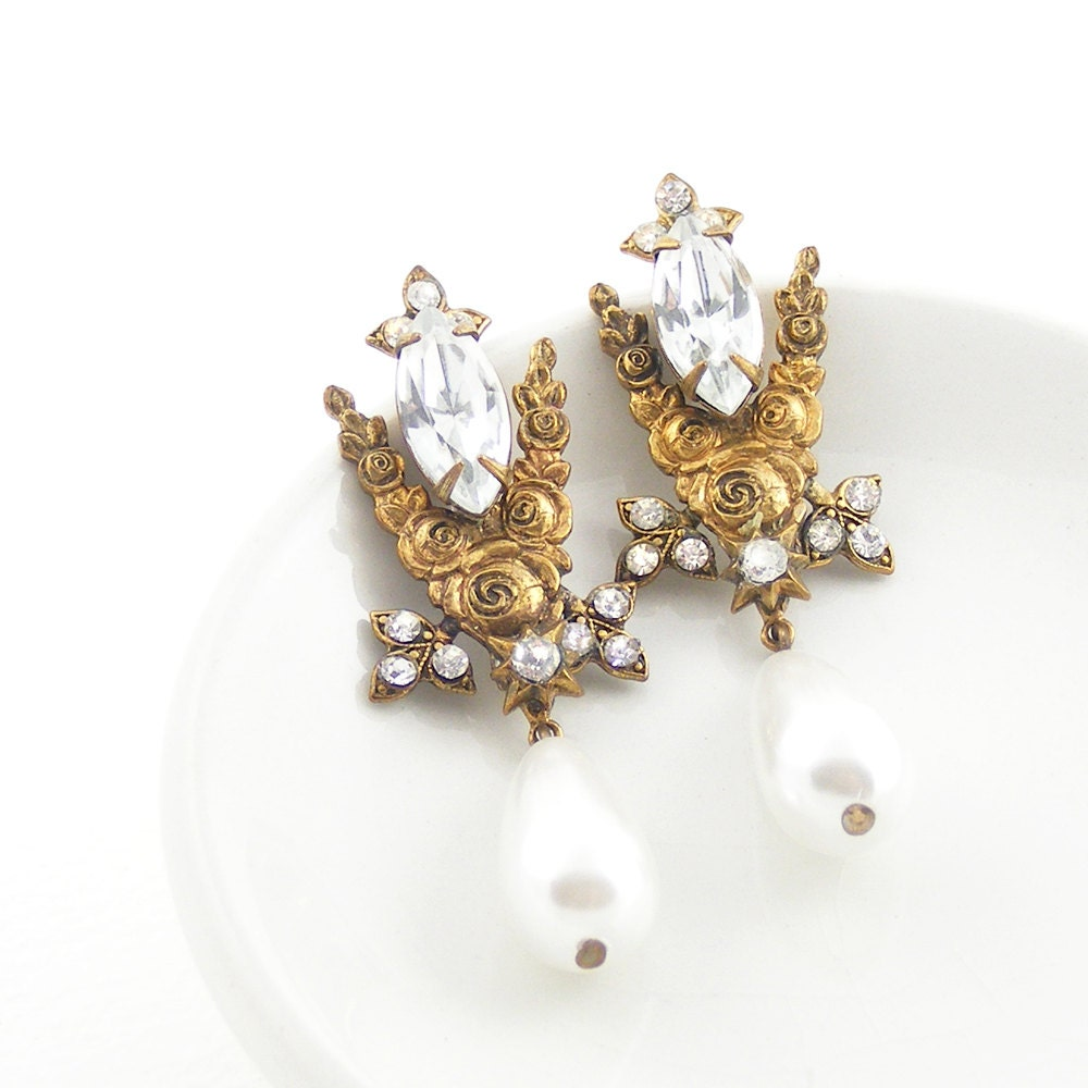 Belle Epoque Earrings, Edwardian Style Crystal & Pearl Drop Earrings in Antique Gold, Unique Repurposed Recycled Statement Jewelry