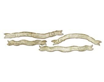 Sizzix Tim Holtz Alterations Decorative Strip Die - TATTERED CURVY BANNERS