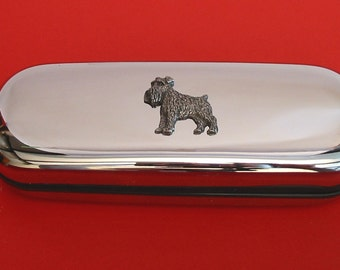 Miniature Schnauzer Chrome Glasses Case With Hand Cast Pewter Motif Mother Father Schnauzer Gift