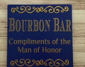 "Wedding Bar Decor Bourbon Bar Groom Bar Sign Wood Sign 11""x11"" Signature Drink Wedding Decor"