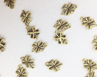 Antique Gold Four Leaf Clover Charm // Combo Bracket 1 {CG033}