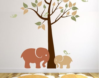 Elephants Wall Mural with Colorful Tree and Birds