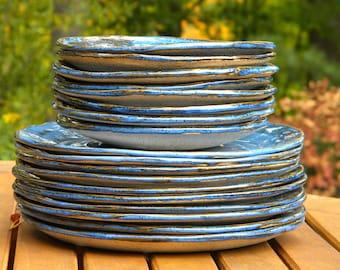 Cobalt Blue Stoneware Dinner or Salad Plates