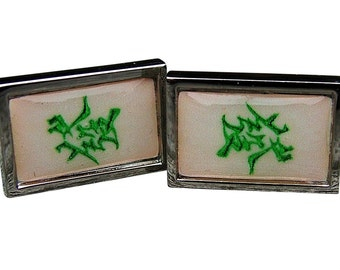 Mahjong 'Green Dragon' Cufflinks from a vintage 1920/30's bone & bamboo mahjong set tile
