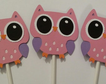 pink and purple open Owl Cupcake toppers