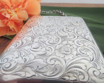 Illustrious Art Nouveau Sterling Silver Card or Cigarette Case by William B. Kerr & Co.