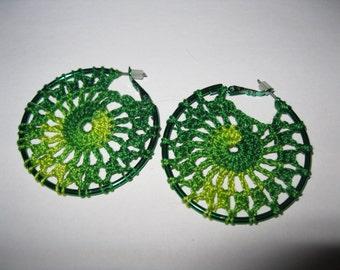 Green Crochet Hoop Earrings